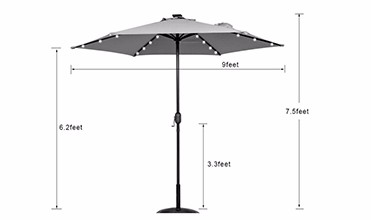 LED light solar power garden umbrella size
