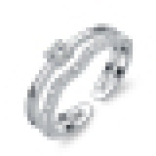 Eleganter 925 Sterling Silber Öffnungsring der Frauen eingelegter Kristall