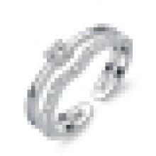 Anillo de apertura de plata de ley 925 elegante con incrustaciones de cristal
