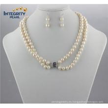 8mm a + off Juego de perlas redondas Juego de perlas naturales de joyería de agua dulce