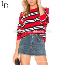 Новая мода толстовка женщины негабаритных полосатый свитер для осени и зимы