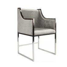 Kitchen Furniture Metal Frame Restaurant Chair Silver Grey Velvet Upholstered Dining Chair