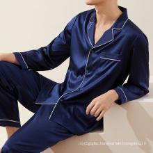 Private label custom silk men nightgown pajama home wear 2pcs set long sleeve mens pajama silk