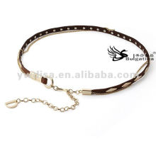 Fashion Women Belts Gold Studs Skinny Metal Leather Belts Chain For Ladies 2015 With Factory Price BC4589G-2