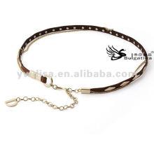 Модные женские пояса золотые шпильки Тощий металлический кожаный ремень Цепь для дам 2015 с заводской ценой BC4589G-2