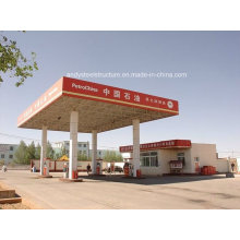 Prefab Petrol Station Construction with Space Frame Roofing System