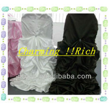 charming ruffled satin chair cover and table cloth for wedding/banquet
