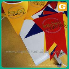 Drapeau de fanion de papier synthétique, drapeau de main extérieure
