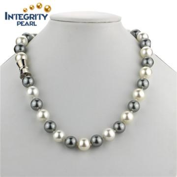12mm Sea Shell Big Size Multi-Color Round Pearl Necklace