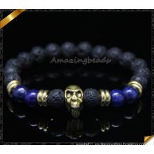 8 mm de la energía de la lava perlas de piedra pulsera hecha a mano cráneo (CB0120)