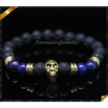 8mm Lava Energy Stone Beads Handmade Skull Bracelet (CB0120)