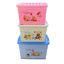 Plastic Cartoon Storage Box with Wheels for Storage (SLSN055)
