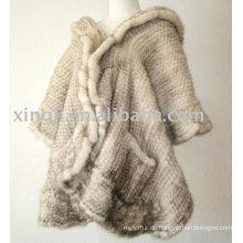 Damen Mode Pelz Schal natürliche Beige Farbe gestrickte Kreuz Nerz Schal