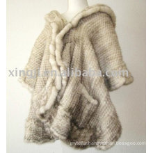 Ladies Fashion Fur Shawl Natural Beige Color Knitted Cross Mink Fur Shawl