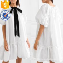 Loose Fit Pussy-Bow Ruffled Satin Short Sleeve White Mini Dress Manufacture Wholesale Fashion Women Apparel (TA0315D)