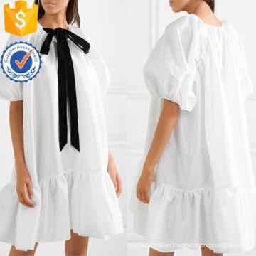 Loose Fit Pussy-Bow Ruffled Satin Short Sleeve White Mini Dress Manufacture Wholesale Fashion Women Apparel (TA0315D)