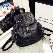 Fashionable rivet soft leather shoulder backpack