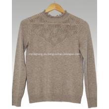 Suéter de cachemir con cuello de encaje