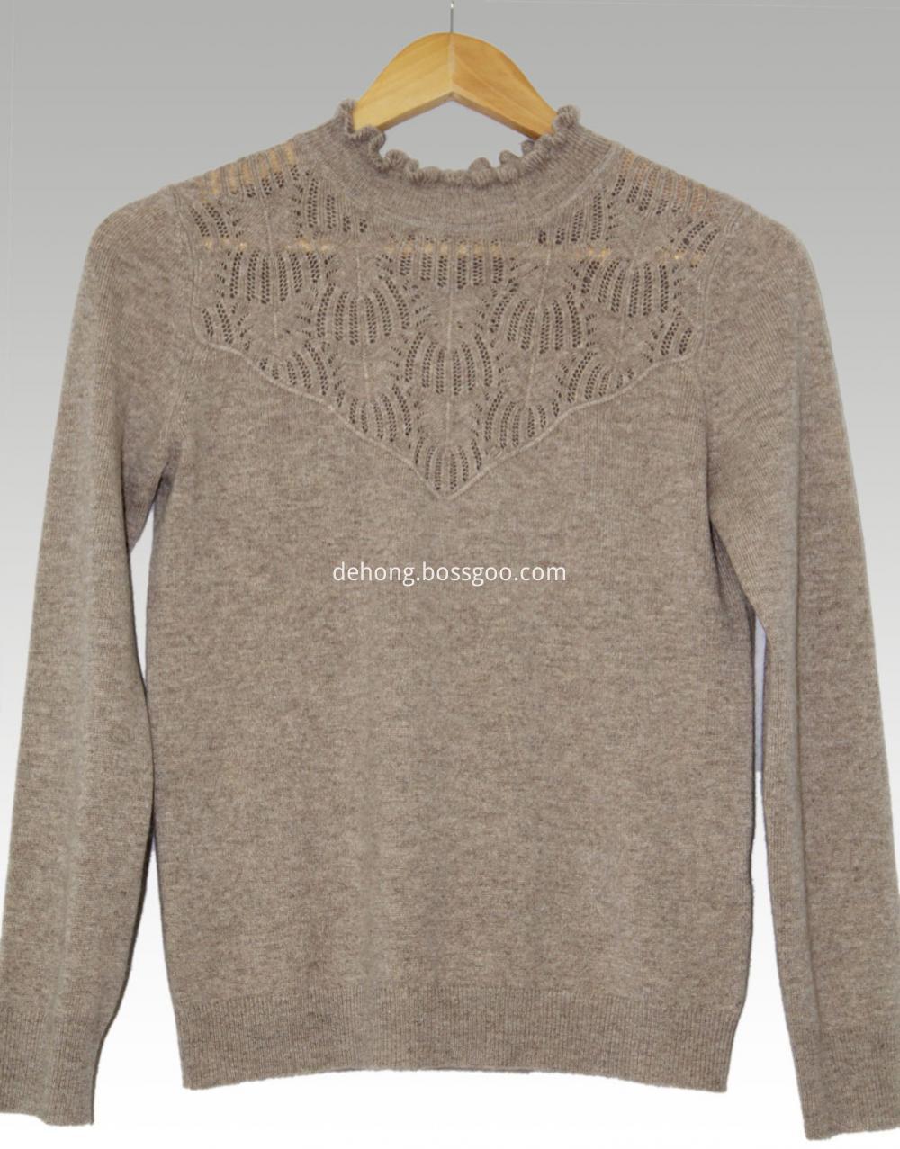 Dark Brown Lace Collar Cashmere Sweater