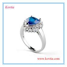 Высококачественное белое золотое сердце из голубого сапфирового обручального кольца для новобрачных
