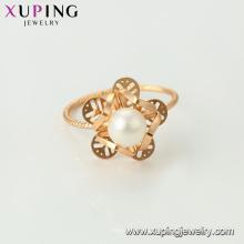 15456 xuping brillo de la moda joyería al por mayor 18k oro plateado los últimos diseños de anillo de perla de imitación para las mujeres
