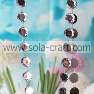 Clear Plastic Mirror Crystal 18mm Octagon Bead Garland