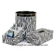 Zebra PU Leather Bureau Bureau Stationery Holder Tissue Box Trash Bin