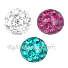 Grânulos de cristal para fazer jóias DIY Screw Piercing Ferido Ball Parts