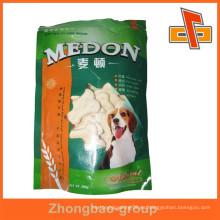 Embalaje bolsos guangzhou vendor lado gusset plástico comida para mascotas embalaje bolsa con diseño impreso