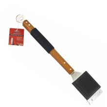 BBQ antiskid handle grill cleaning brush with scrape