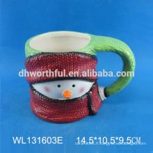 Tasse en céramique sur mesure de bonhomme de neige