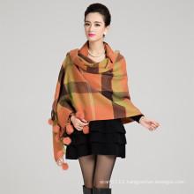 Lady Fashion Wool Knitted Rabbit Fur Ball Winter Shawl (YKY4483)