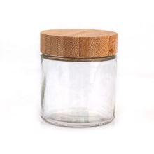 300ml 10oz food grade straight side wide mouth glass honey jar for storage with wooden lid