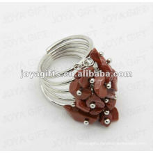 Red stone chip stone wrap rings