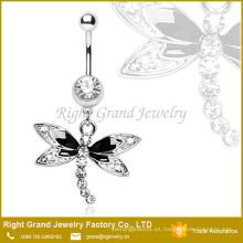 Anillo quirúrgico del ombligo del anillo de la libélula de la gema de la plata quirúrgica de la moda