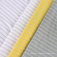 Lurex metallic stripe yarn dyed ecovero rayon stretch knit recycled single jersey fabric