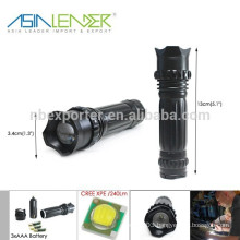 3 Brightness Modes Aluminum 3AAA or 18650 Battery Cree XPE LED Fast Track Flashlight Torch
