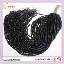 4-5mm perla de agua dulce de botón negro pierde filamentos de perlas