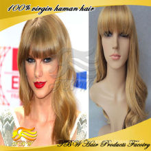 Cheap full lace big wave human hair blond wigs
