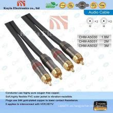 Cable de 2rca av de oro para video componente y cable de audio estéreo