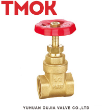 full port brass color double internal thread full open with red hand wheel brass gate valve
