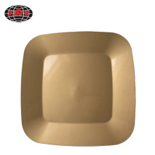 Gold Square Rounded Corners Plastic Charger Plate