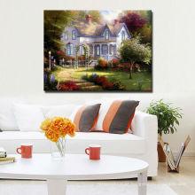 Pintura a óleo clássica da paisagem da casa na lona