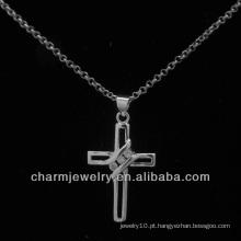 A prata quente da venda chapeou o pendente cruzado PSS-005 da cruz do cz
