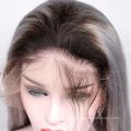 """В наличии 10 """"-24"""" парики человеческих волос серый омбре бразильский реми парик волос кружева перед T1B-серый шелковистый прямой"""