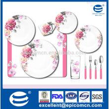 OEM ceramic floral dinner set with color box