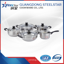 Bakelite handle Stainless steel cookware set with glass lid