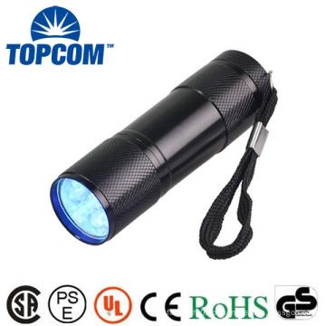 Atacado 9 LED UV Lanterna 395nm comprimento de onda liga de alumínio Mini Blacklight Keychain 9 LED Lanterna com preço de fábrica