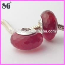 latest design Diamond pattern Dark red glass stone cheap jewelry Charm silver beads wholesale
