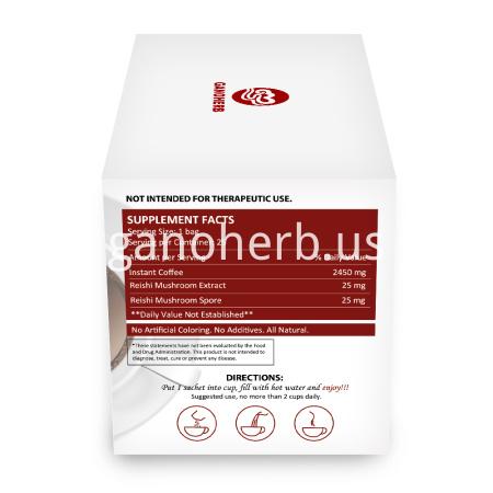 100% Organic Certificated Black Coffee Ganoderma Reishi Mushroom Lingzhi Instant Coffee